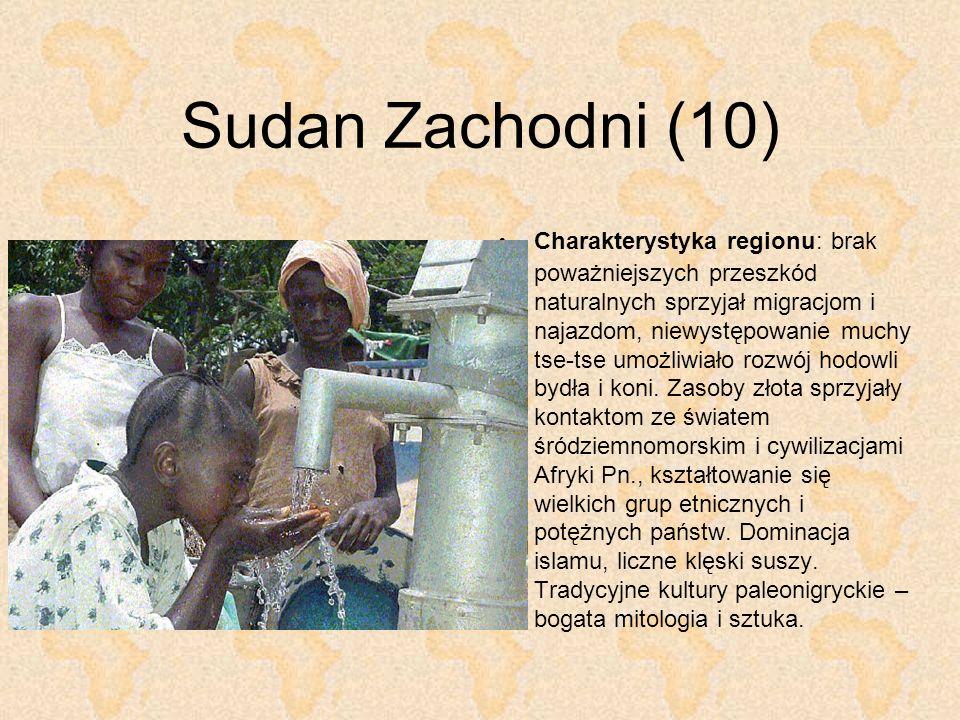 Sudan Zachodni (10) Charakterystyka regionu: brak poważniejszych przeszkód naturalnych sprzyjał migracjom i najazdom, niewystępowanie muchy tse-tse um