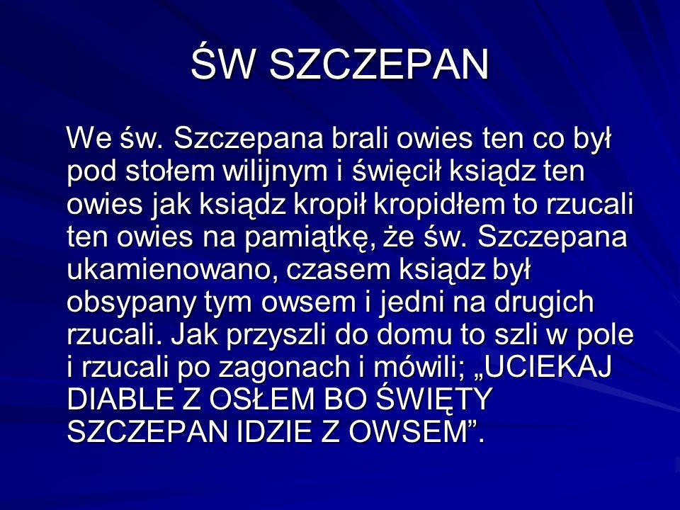 ŚW SZCZEPAN We św. Szczepana brali owies ten co był pod stołem wilijnym i święcił ksiądz ten owies jak ksiądz kropił kropidłem to rzucali ten owies na