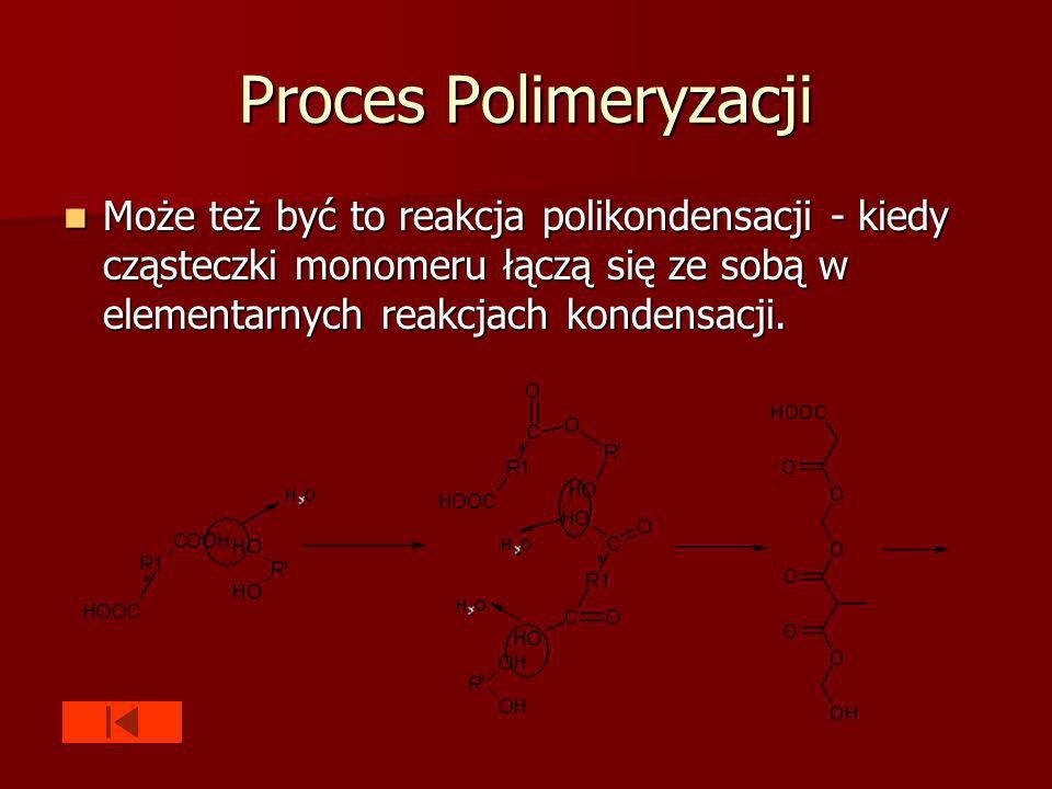 Proces Polimeryzacji Może też być to reakcja polikondensacji - kiedy cząsteczki monomeru łączą się ze sobą w elementarnych reakcjach kondensacji.