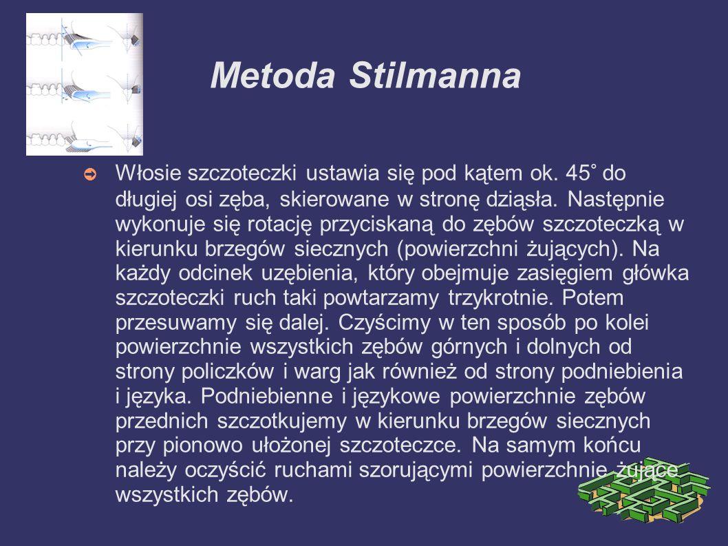 Metoda Stilmanna Włosie szczoteczki ustawia się pod kątem ok. 45° do długiej osi zęba, skierowane w stronę dziąsła. Następnie wykonuje się rotację prz