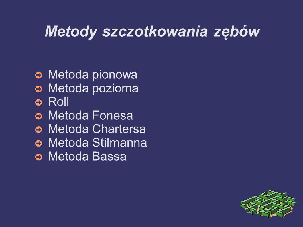 Metody szczotkowania zębów Metoda pionowa Metoda pozioma Roll Metoda Fonesa Metoda Chartersa Metoda Stilmanna Metoda Bassa