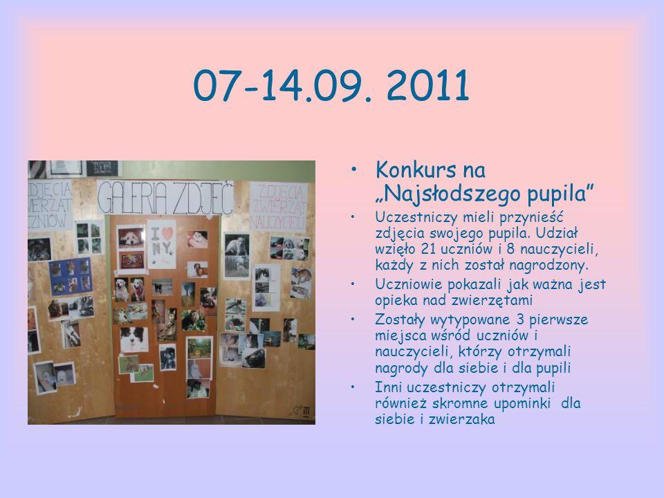 07-14.09. 2011 Konkurs na Najsłodszego pupila Uczestniczy mieli przynieść zdjęcia swojego pupila. Udział wzięło 21 uczniów i 8 nauczycieli, każdy z ni