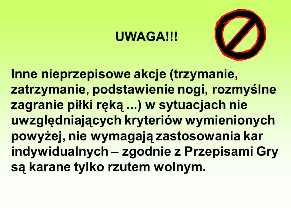 UWAGA!!! Inne nieprzepisowe akcje (trzymanie, zatrzymanie, podstawienie nogi, rozmyślne zagranie piłki ręką...) w sytuacjach nie uwzględniających kryt