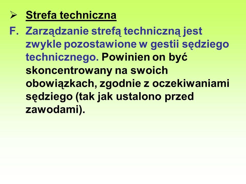 Strefa techniczna F.Zarządzanie strefą techniczną jest zwykle pozostawione w gestii sędziego technicznego. Powinien on być skoncentrowany na swoich ob