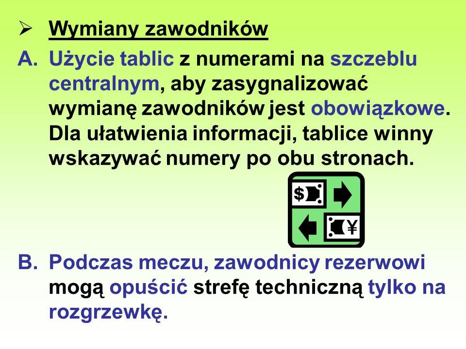 Wymiany zawodników A.Użycie tablic z numerami na szczeblu centralnym, aby zasygnalizować wymianę zawodników jest obowiązkowe. Dla ułatwienia informacj