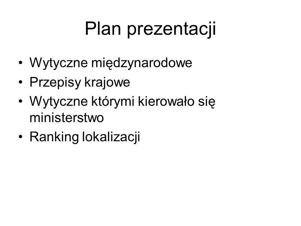Plan prezentacji Wytyczne międzynarodowe Przepisy krajowe Wytyczne którymi kierowało się ministerstwo Ranking lokalizacji