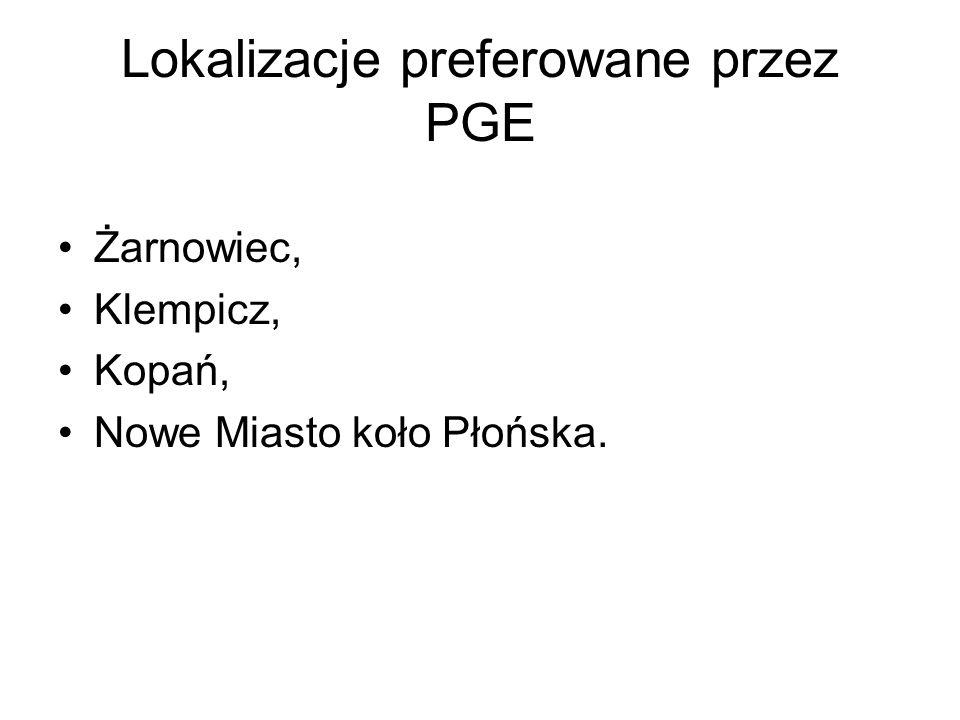 Lokalizacje preferowane przez PGE Żarnowiec, Klempicz, Kopań, Nowe Miasto koło Płońska.