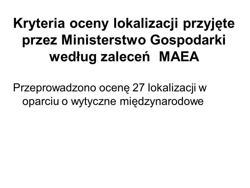 Kryteria oceny lokalizacji przyjęte przez Ministerstwo Gospodarki według zaleceń MAEA Przeprowadzono ocenę 27 lokalizacji w oparciu o wytyczne międzyn