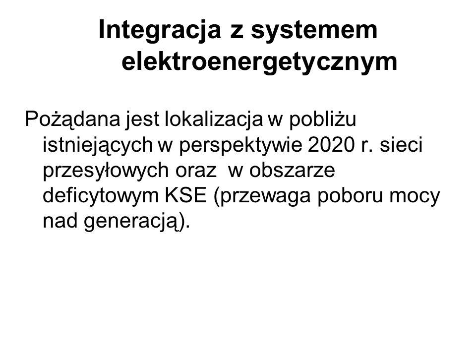 Integracja z systemem elektroenergetycznym Pożądana jest lokalizacja w pobliżu istniejących w perspektywie 2020 r. sieci przesyłowych oraz w obszarze