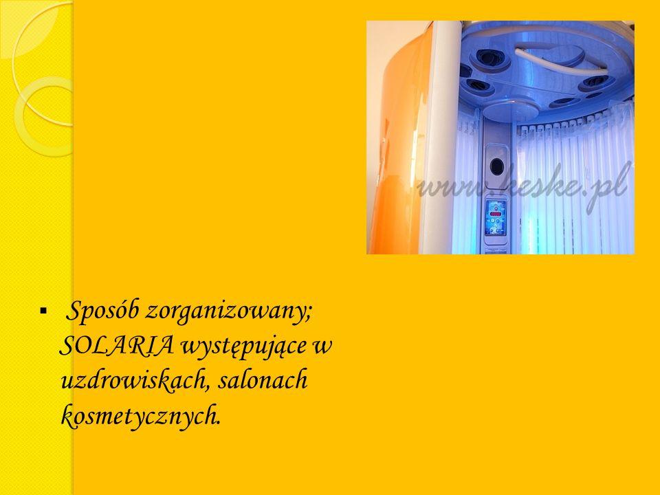 Sposób zorganizowany; SOLARIA występujące w uzdrowiskach, salonach kosmetycznych.