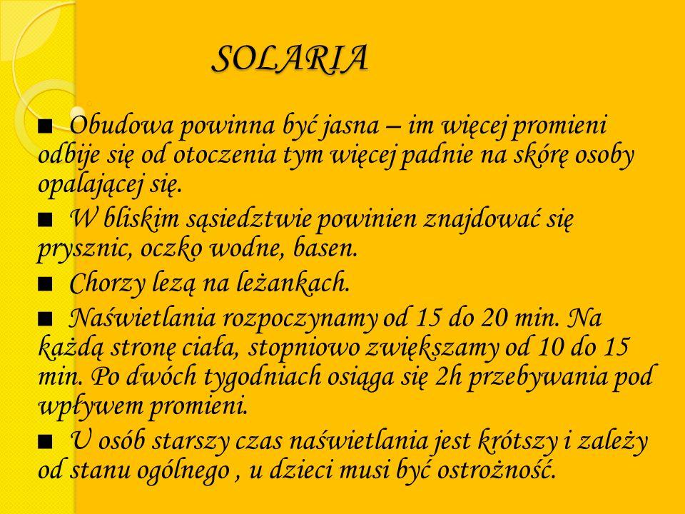 SOLARIA Obudowa powinna być jasna – im więcej promieni odbije się od otoczenia tym więcej padnie na skórę osoby opalającej się.