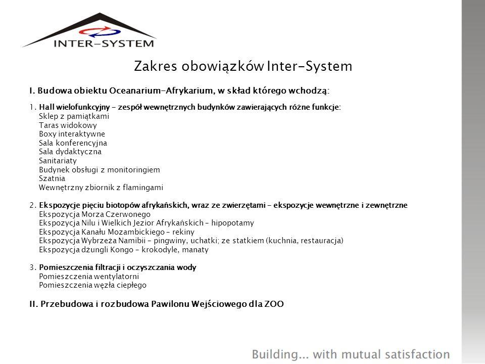 Zakres obowiązków Inter-System I. Budowa obiektu Oceanarium-Afrykarium, w skład którego wchodzą: 1. Hall wielofunkcyjny – zespół wewnętrznych budynków