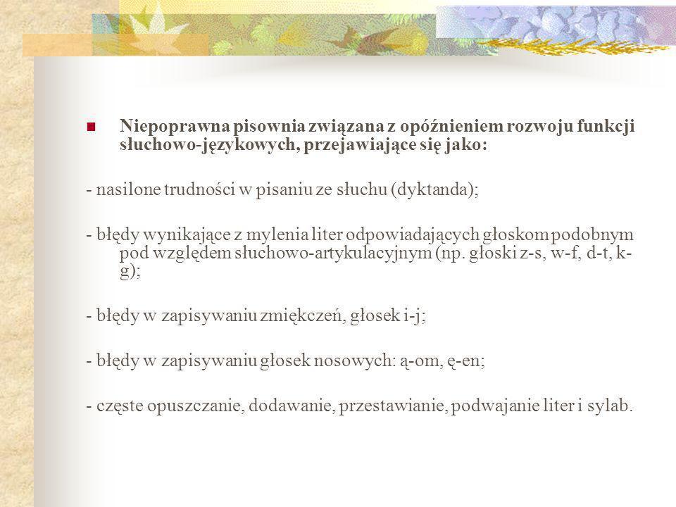Niepoprawna pisownia związana z opóźnieniem rozwoju funkcji słuchowo-językowych, przejawiające się jako: - nasilone trudności w pisaniu ze słuchu (dyk