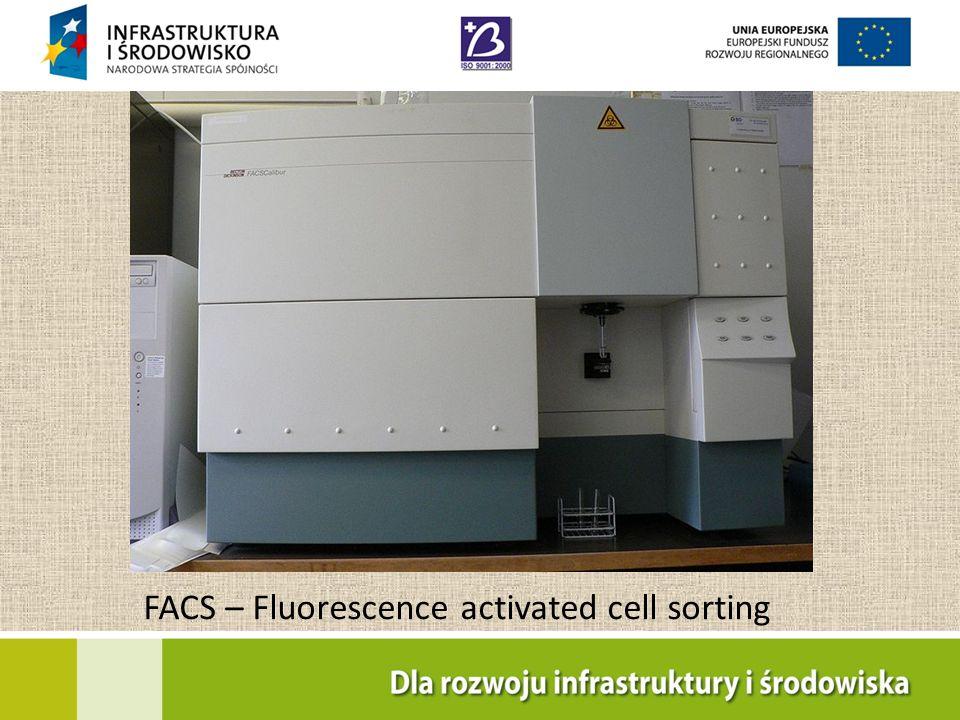 FacsCalibur Producent – Becton Dickinson Rok produkcji 2010 System akwizycji danych rejestruje komórki lub cząstki biologiczne przepływające z częstością > 3000 na sek.