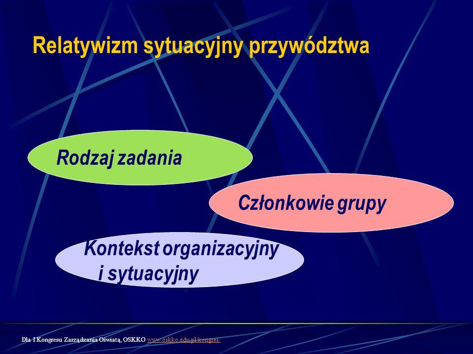 Relatywizm sytuacyjny przywództwa Członkowie grupy Kontekst organizacyjny i sytuacyjny Rodzaj zadania Dla I Kongresu Zarządzania Oświatą, OSKKO www.os