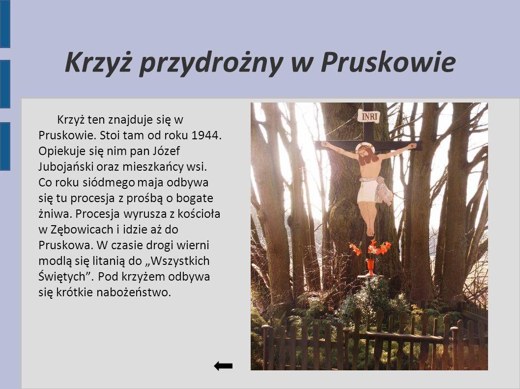 Krzyż przydrożny w Pruskowie Krzyż ten znajduje się w Pruskowie. Stoi tam od roku 1944. Opiekuje się nim pan Józef Jubojański oraz mieszkańcy wsi. Co