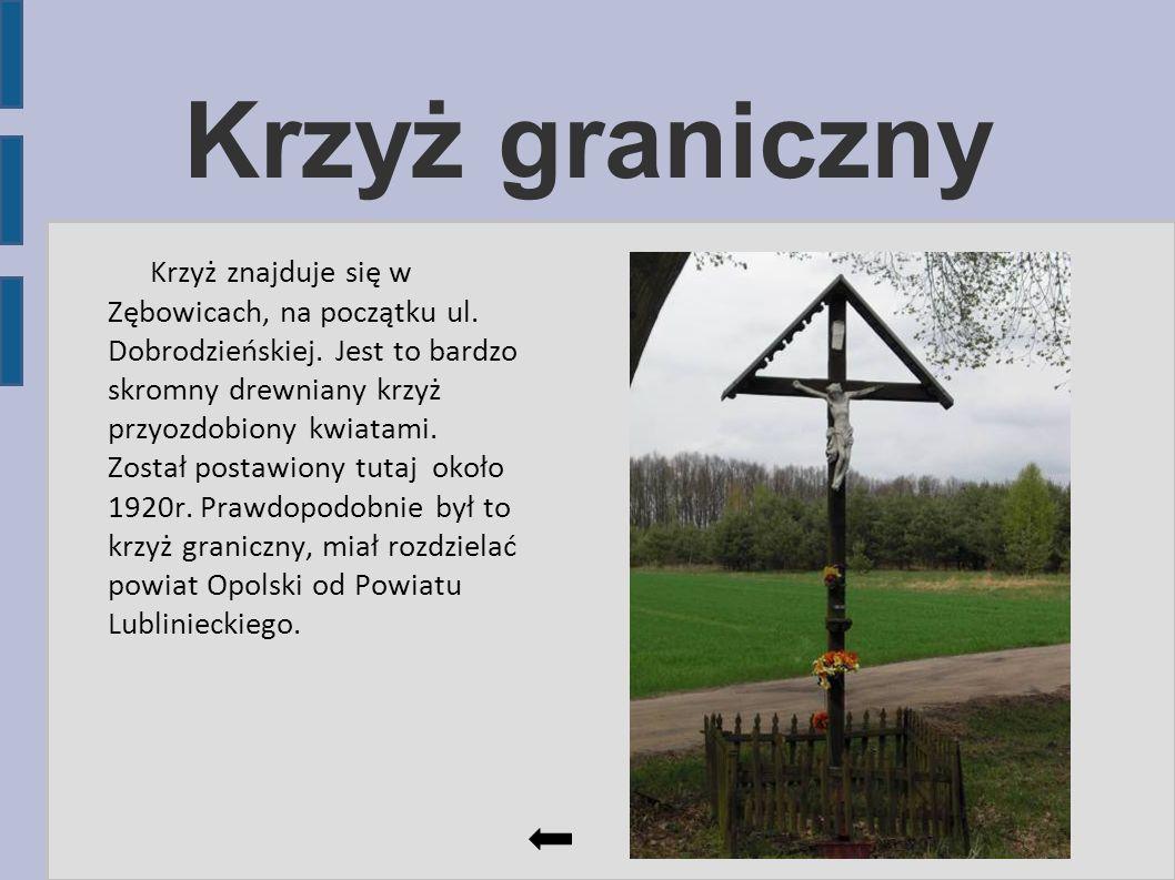 Krzyż graniczny Krzyż znajduje się w Zębowicach, na początku ul. Dobrodzieńskiej. Jest to bardzo skromny drewniany krzyż przyozdobiony kwiatami. Zosta