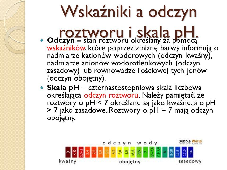 Olejek waniliowy. To wskaźnik zapachowy. Jeśli znajdzie się w środowisku o wysokim pH, wtedy jest bezwonny, gdyż dysocjuje.