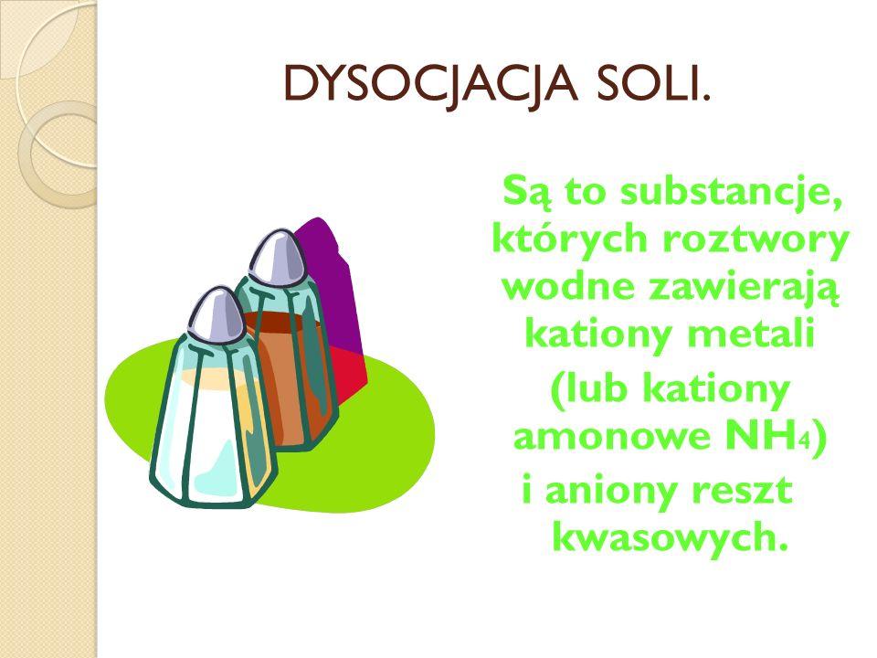 DYSOCJACJA ZASAD. Zasady w roztworach wodnych dysocjują na charakterystyczne dla nich aniony wodorotlenkowe i kationy metali (lub kation amonowy).