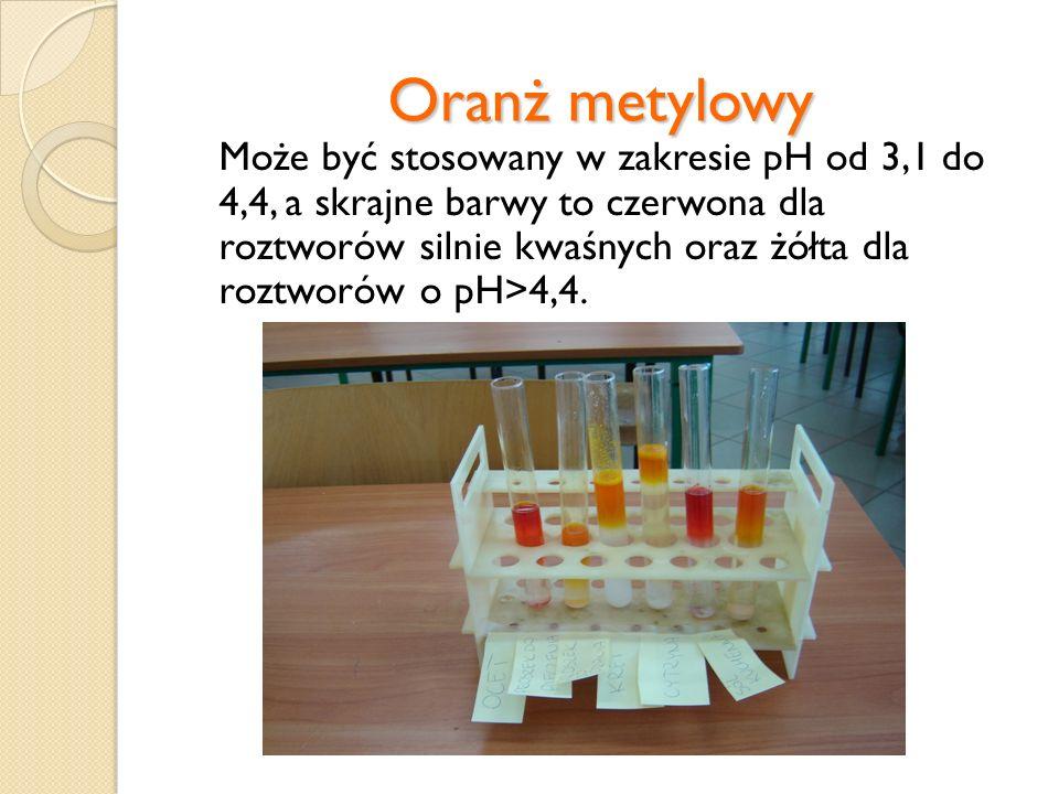Błękit bromotymolowy Zakres następowania zmian barwy to 1,2÷2,8, zaś barwa zmienia się z czerwonej (roztwór kwaśny) do żółtej (roztwór zasadowy).