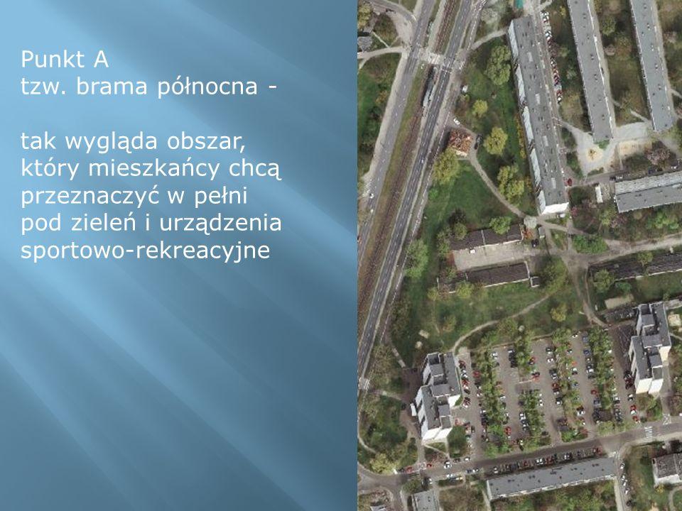 Punkt A tzw. brama północna - tak wygląda obszar, który mieszkańcy chcą przeznaczyć w pełni pod zieleń i urządzenia sportowo-rekreacyjne