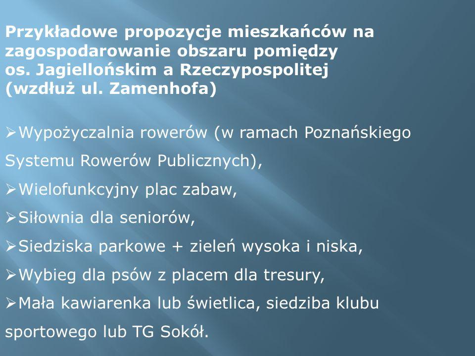 Przykładowe propozycje mieszkańców na zagospodarowanie obszaru pomiędzy os. Jagiellońskim a Rzeczypospolitej (wzdłuż ul. Zamenhofa) Wypożyczalnia rowe