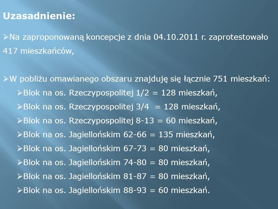 Uzasadnienie: Na zaproponowaną koncepcje z dnia 04.10.2011 r. zaprotestowało 417 mieszkańców, W pobliżu omawianego obszaru znajduję się łącznie 751 mi