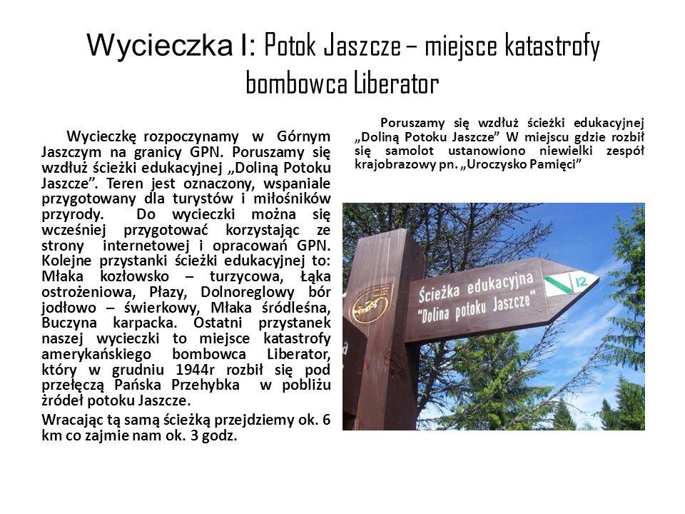 Wycieczka I: Potok Jaszcze – miejsce katastrofy bombowca Liberator Wycieczkę rozpoczynamy w Górnym Jaszczym na granicy GPN. Poruszamy się wzdłuż ścież