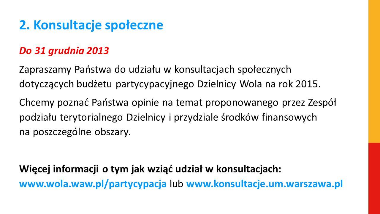 2. Konsultacje społeczne Do 31 grudnia 2013 Zapraszamy Państwa do udziału w konsultacjach społecznych dotyczących budżetu partycypacyjnego Dzielnicy W