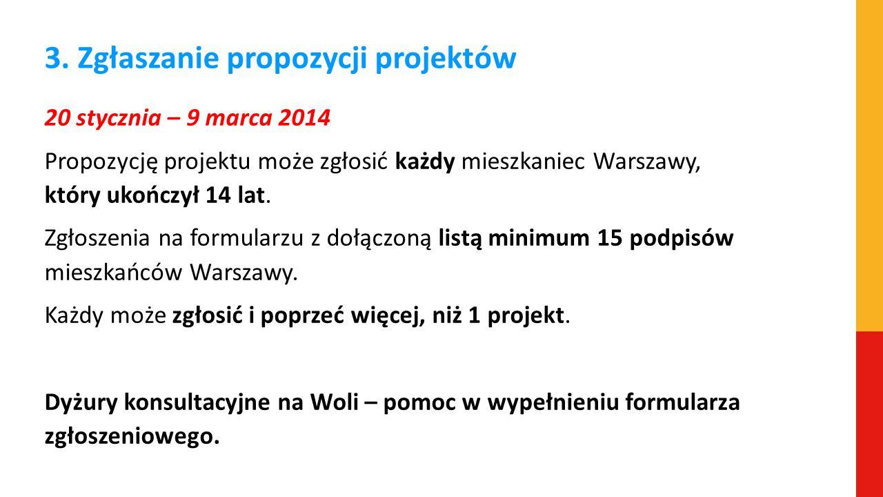 3. Zgłaszanie propozycji projektów 20 stycznia – 9 marca 2014 Propozycję projektu może zgłosić każdy mieszkaniec Warszawy, który ukończył 14 lat. Zgło