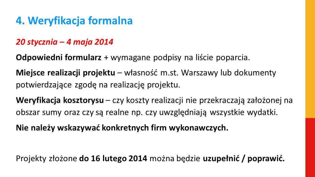 4. Weryfikacja formalna 20 stycznia – 4 maja 2014 Odpowiedni formularz + wymagane podpisy na liście poparcia. Miejsce realizacji projektu – własność m