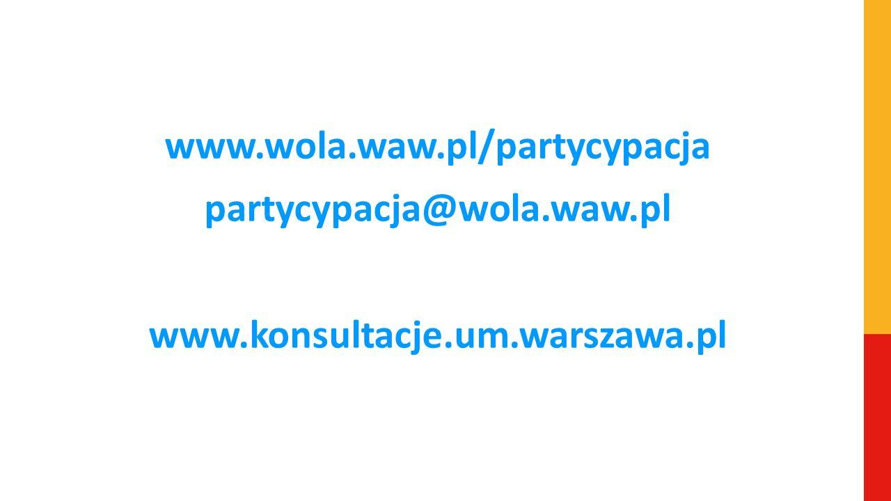 www.wola.waw.pl/partycypacja partycypacja@wola.waw.pl www.konsultacje.um.warszawa.pl
