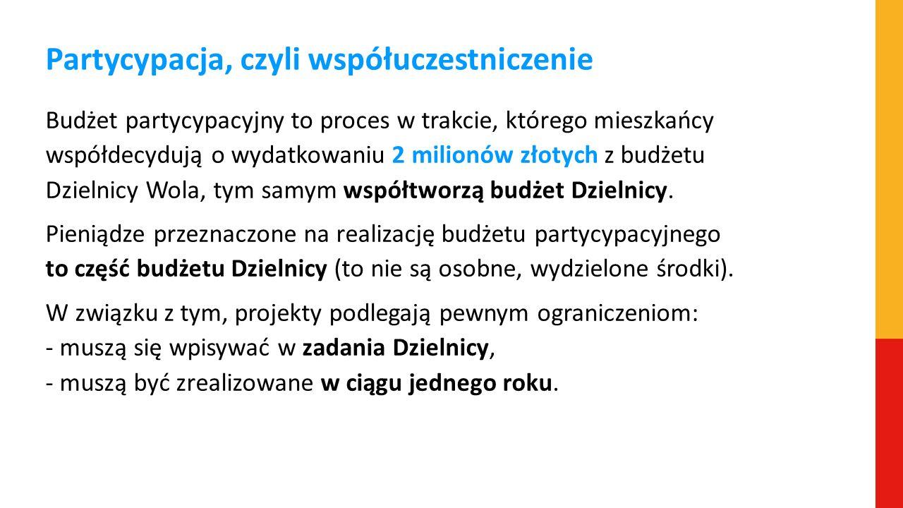Partycypacja, czyli współuczestniczenie Budżet partycypacyjny to proces w trakcie, którego mieszkańcy współdecydują o wydatkowaniu 2 milionów złotych