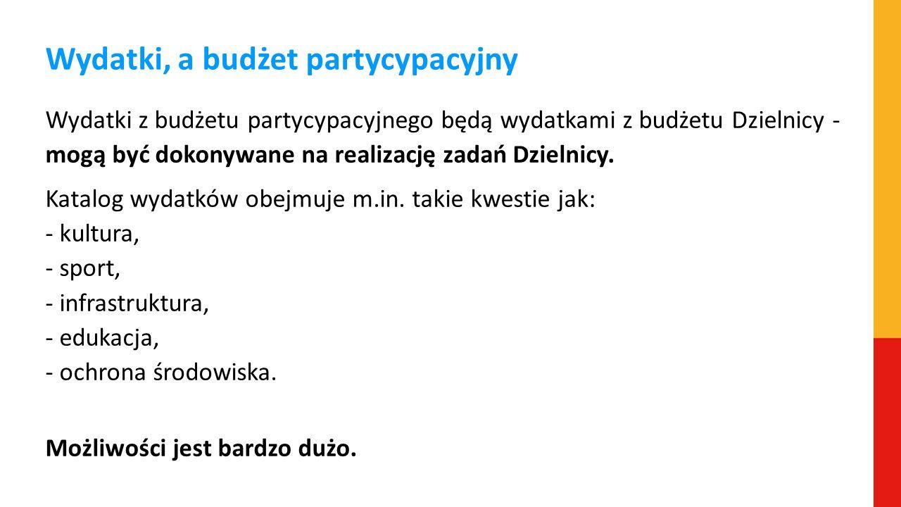 Wydatki, a budżet partycypacyjny Wydatki z budżetu partycypacyjnego będą wydatkami z budżetu Dzielnicy - mogą być dokonywane na realizację zadań Dziel