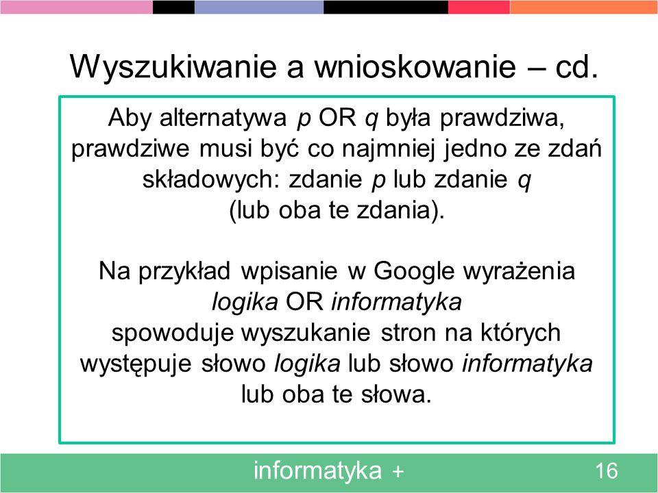 informatyka + 16 Wyszukiwanie a wnioskowanie – cd. Aby alternatywa p OR q była prawdziwa, prawdziwe musi być co najmniej jedno ze zdań składowych: zda