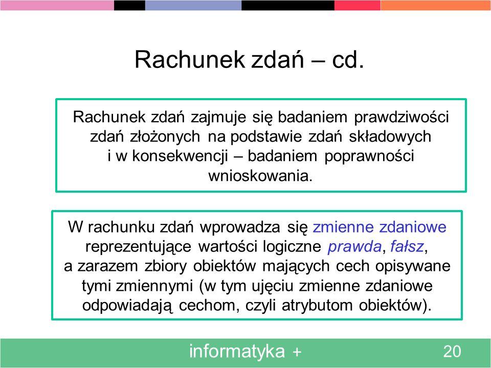 informatyka + 20 Rachunek zdań – cd. Rachunek zdań zajmuje się badaniem prawdziwości zdań złożonych na podstawie zdań składowych i w konsekwencji – ba