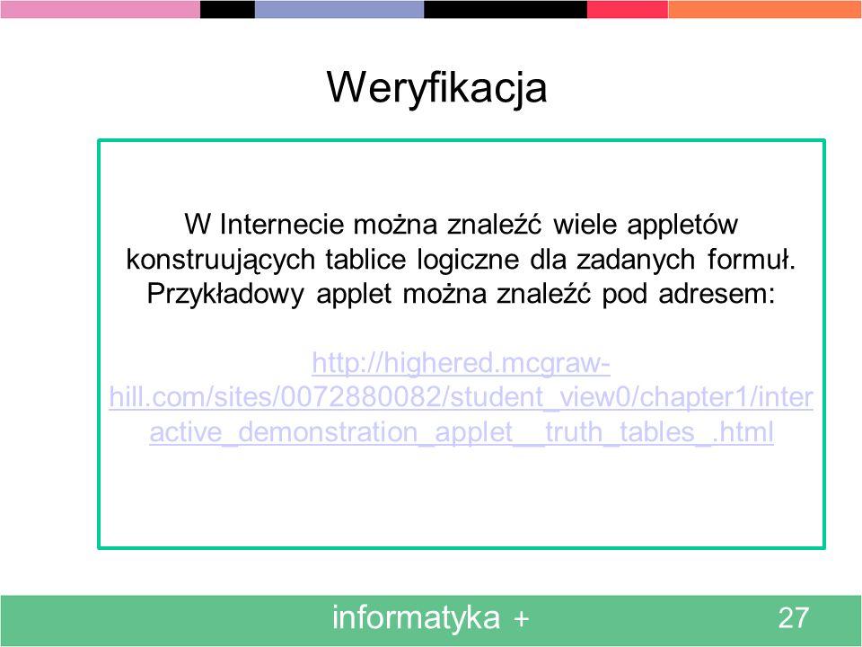 informatyka + 27 Weryfikacja W Internecie można znaleźć wiele appletów konstruujących tablice logiczne dla zadanych formuł. Przykładowy applet można z