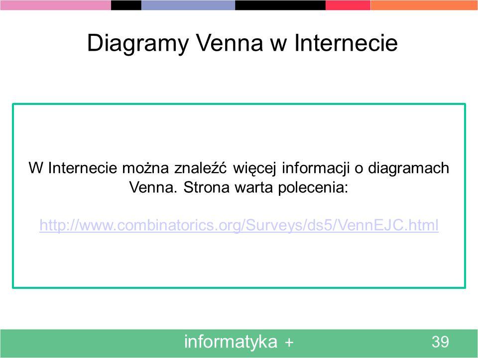informatyka + 39 Diagramy Venna w Internecie W Internecie można znaleźć więcej informacji o diagramach Venna. Strona warta polecenia: http://www.combi