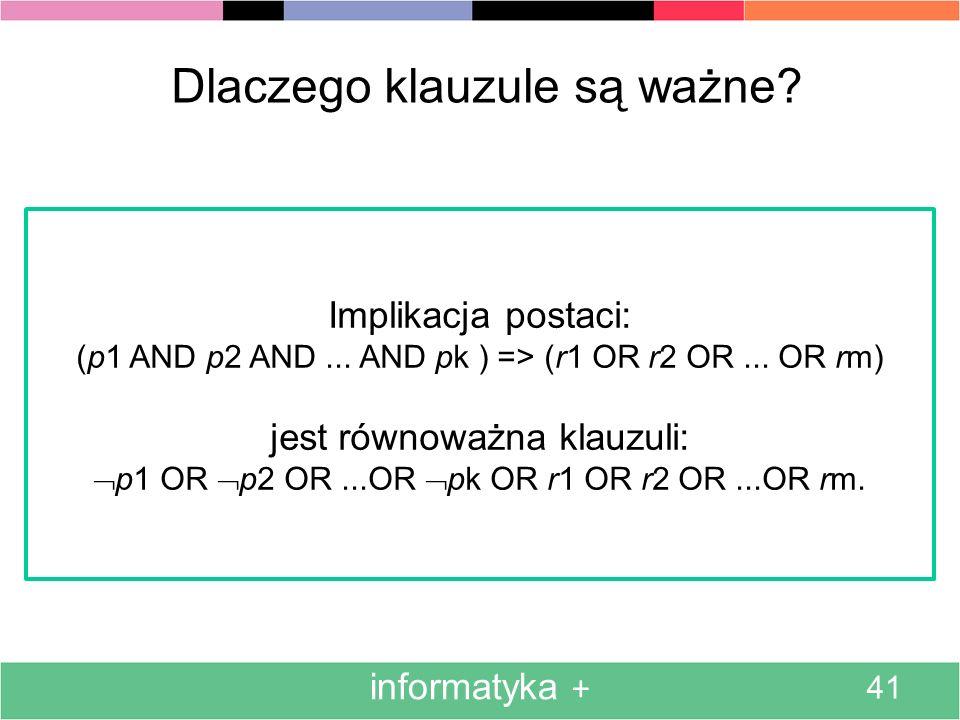 informatyka + 41 Dlaczego klauzule są ważne? Implikacja postaci: (p1 AND p2 AND... AND pk ) => (r1 OR r2 OR... OR rm) jest równoważna klauzuli: p1 OR