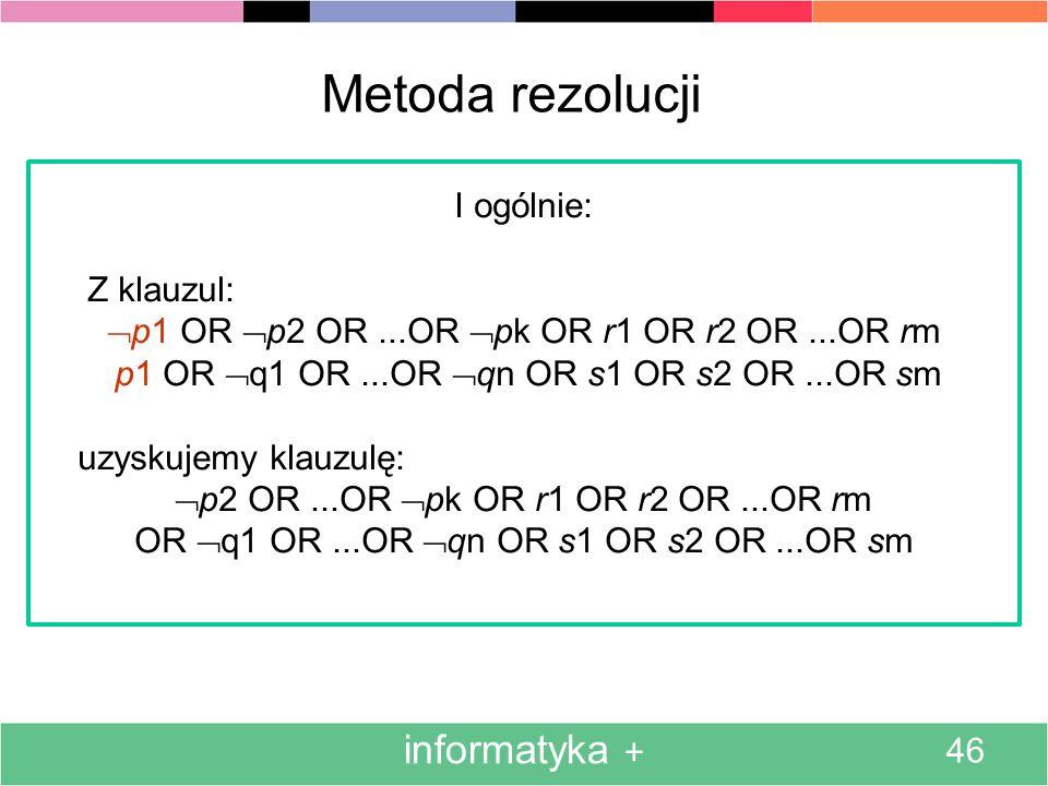 informatyka + 46 Metoda rezolucji I ogólnie: Z klauzul: p1 OR p2 OR...OR pk OR r1 OR r2 OR...OR rm p1 OR q1 OR...OR qn OR s1 OR s2 OR...OR sm uzyskuje