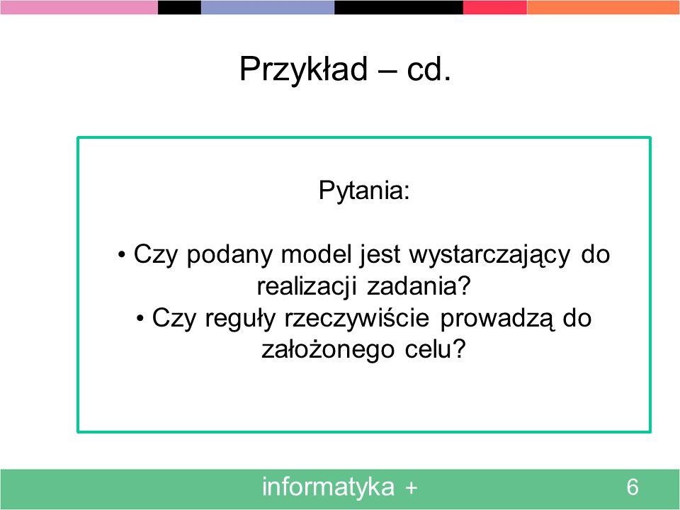 informatyka + 6 Przykład – cd. Pytania: Czy podany model jest wystarczający do realizacji zadania? Czy reguły rzeczywiście prowadzą do założonego celu