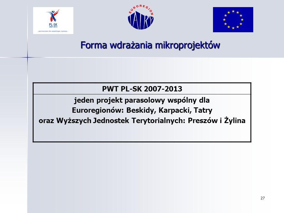 27 Forma wdrażania mikroprojektów PWT PL-SK 2007-2013 jeden projekt parasolowy wspólny dla Euroregionów: Beskidy, Karpacki, Tatry oraz Wyższych Jednos