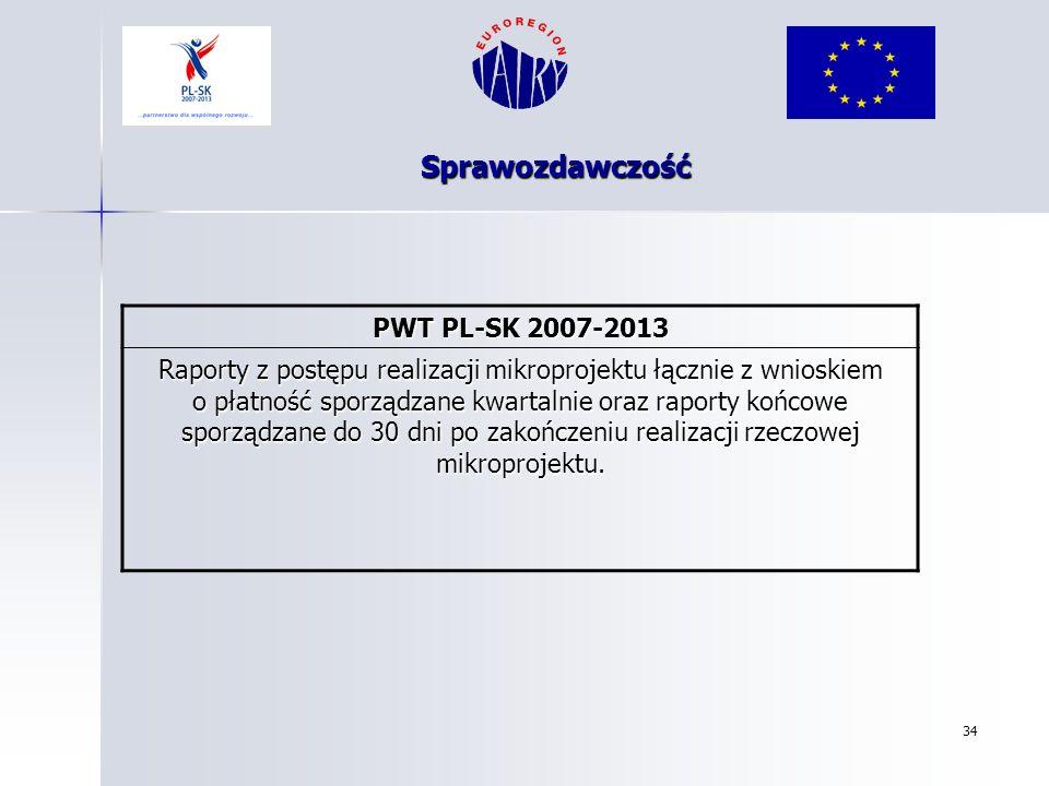34 Sprawozdawczość PWT PL-SK 2007-2013 Raporty z postępu realizacji mikroprojektu łącznie z wnioskiem o płatność sporządzane kwartalnie oraz raporty k