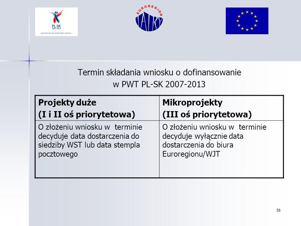 36 Termin składania wniosku o dofinansowanie w PWT PL-SK 2007-2013 Projekty duże (I i II oś priorytetowa) Mikroprojekty (III oś priorytetowa) O złożen