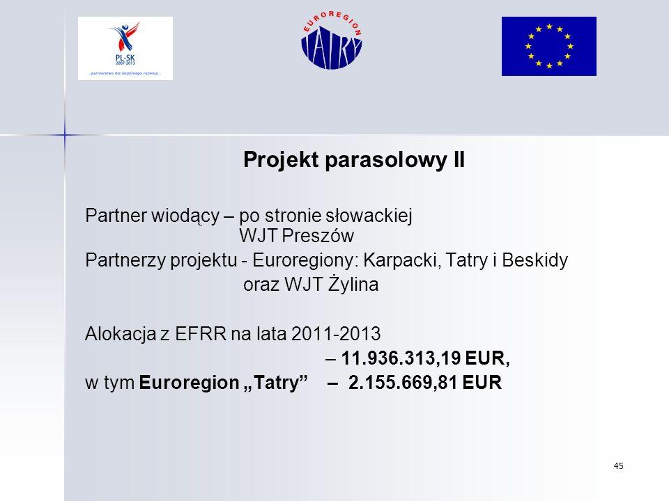 45 Projekt parasolowy II Partner wiodący – po stronie słowackiej WJT Preszów Partnerzy projektu - Euroregiony: Karpacki, Tatry i Beskidy oraz WJT Żyli