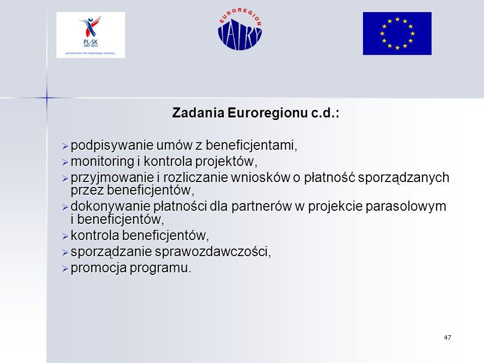 47 Zadania Euroregionu c.d.: podpisywanie umów z beneficjentami, podpisywanie umów z beneficjentami, monitoring i kontrola projektów, monitoring i kon
