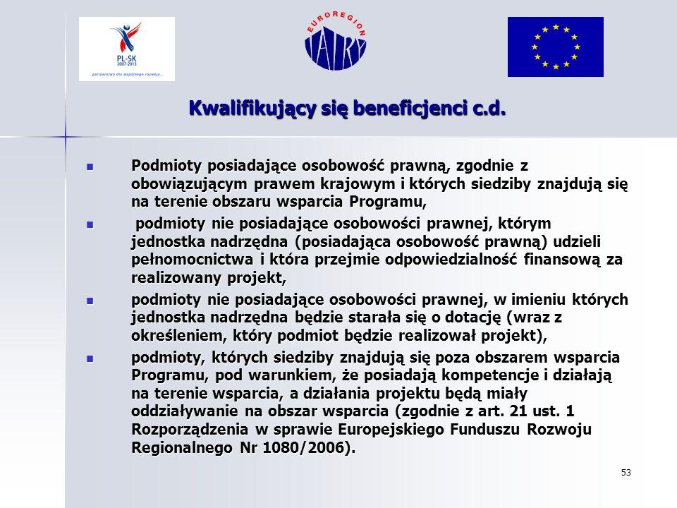 53 Kwalifikujący się beneficjenci c.d. Podmioty posiadające osobowość prawną, zgodnie z obowiązującym prawem krajowym i których siedziby znajdują się