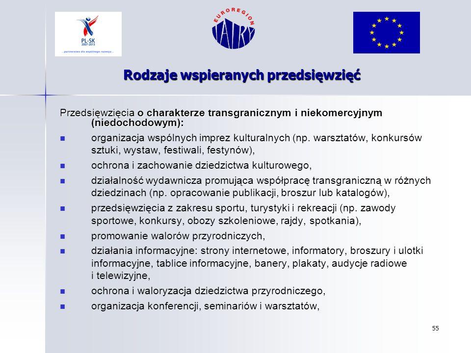 55 Rodzaje wspieranych przedsięwzięć Przedsięwzięcia o charakterze transgranicznym i niekomercyjnym (niedochodowym): organizacja wspólnych imprez kult