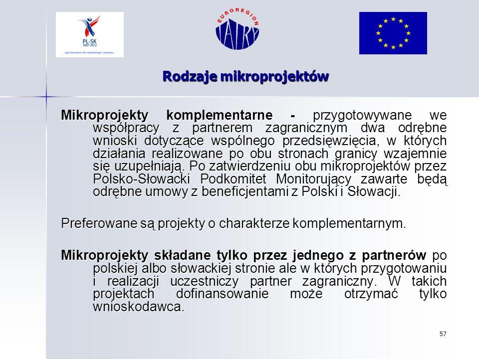 57 Rodzaje mikroprojektów Mikroprojekty komplementarne - przygotowywane we współpracy z partnerem zagranicznym dwa odrębne wnioski dotyczące wspólnego
