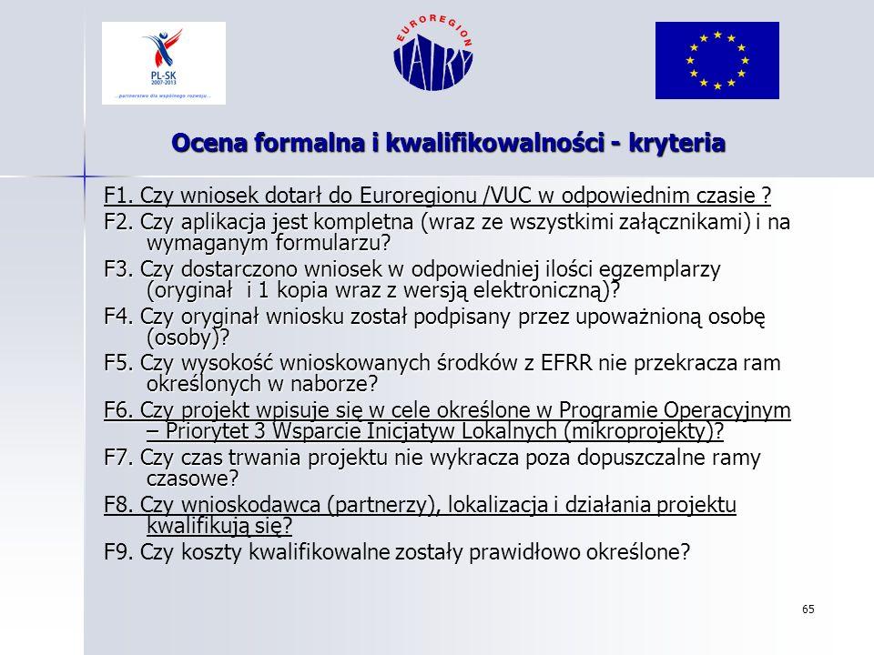65 F1. Czy wniosek dotarł do Euroregionu /VUC w odpowiednim czasie ? F2. Czy aplikacja jest kompletna (wraz ze wszystkimi załącznikami) i na wymaganym
